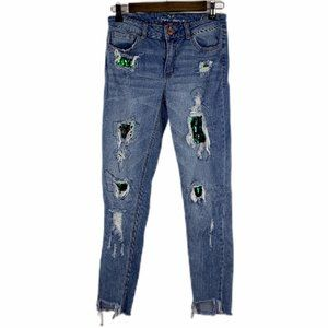 Almost Famous Mermaid Scale Distressed Skinny Jean